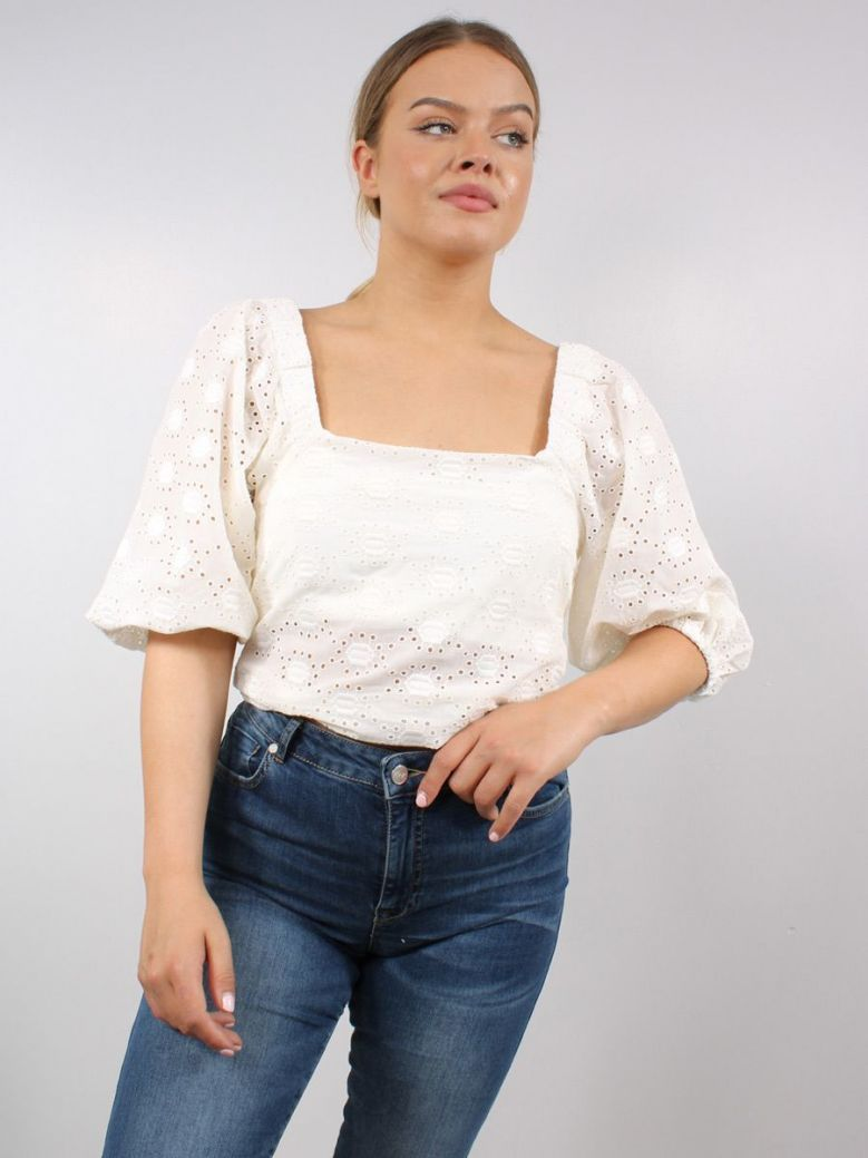 Kendall + Kylie Embroidered Balloon Sleeve Top Cream