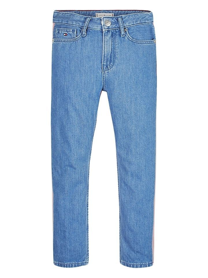 Tommy Hilfiger Kids Blue & Pink Izzy High Rise Cropped Jeans