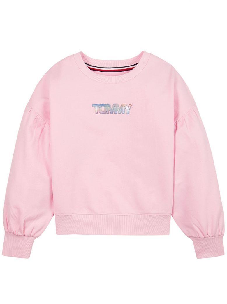 Tommy Hilfiger Kids Romantic Pink Iridescent Badge Crew Sweatshirt