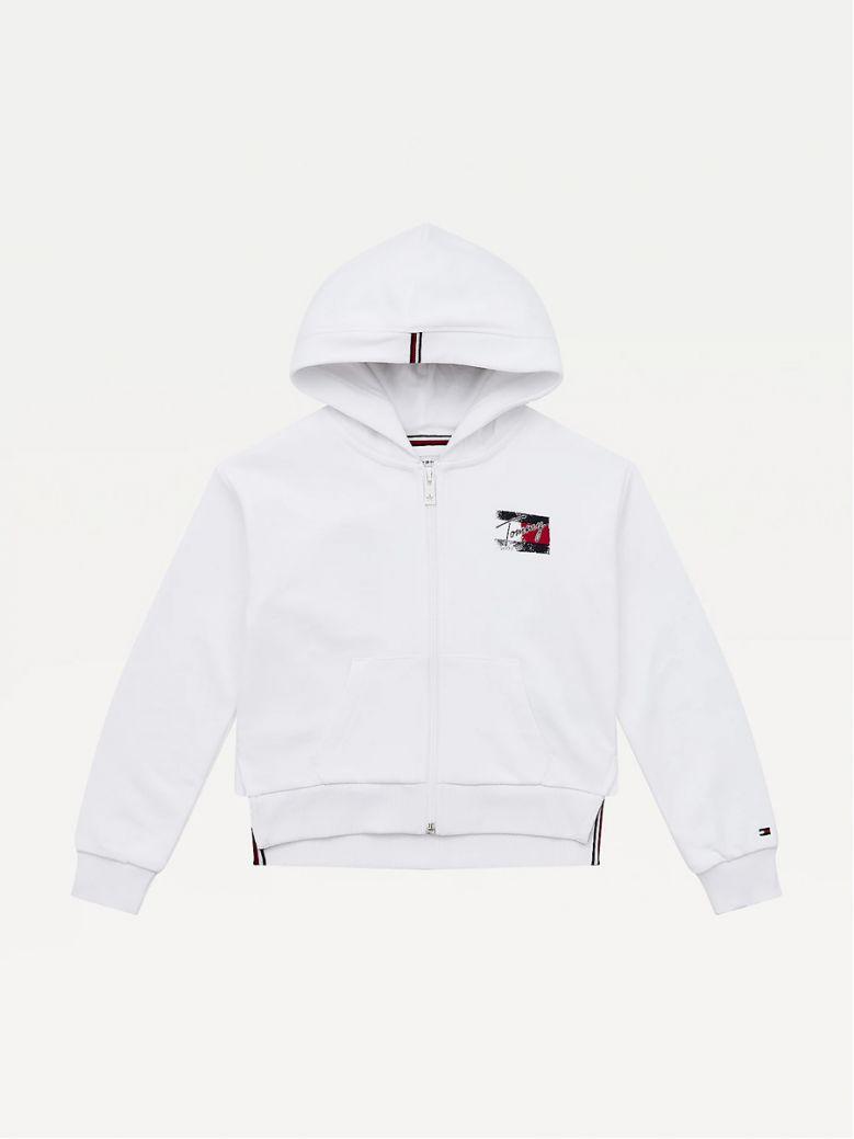Tommy Hilfiger Kids White Logo Print Hoody