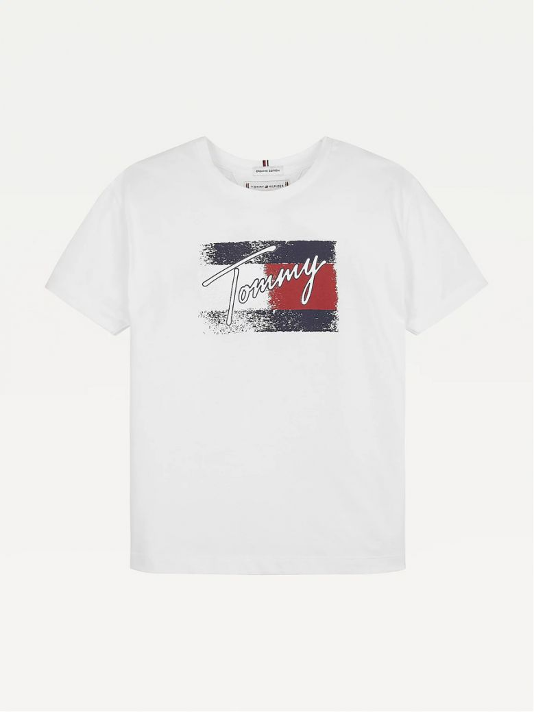 Tommy Hilfiger Kids White Organic Cotton Flag Print T-Shirt