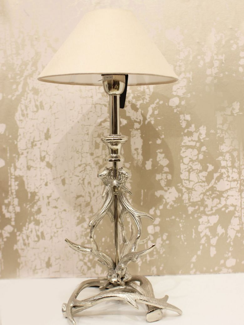Antlers Table Lamp with  Blush Shade