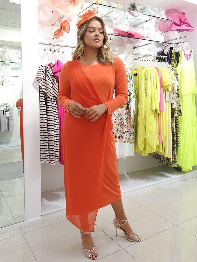 Kirsten Krog Luxury Gathered Effect Dress Orange