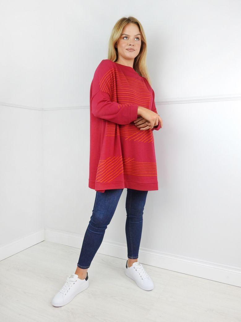 Knit Knit Fuschia Orange Stripe Jumper