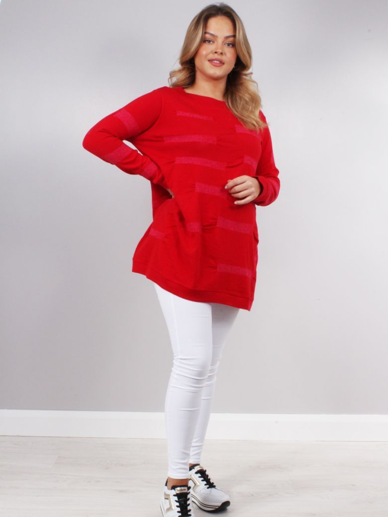 Knit Knit Red Fuchsia Slouchy Jumper
