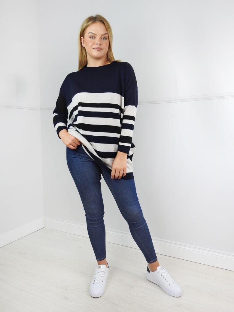 Knit Knit Black and Blue Stripe Jumper