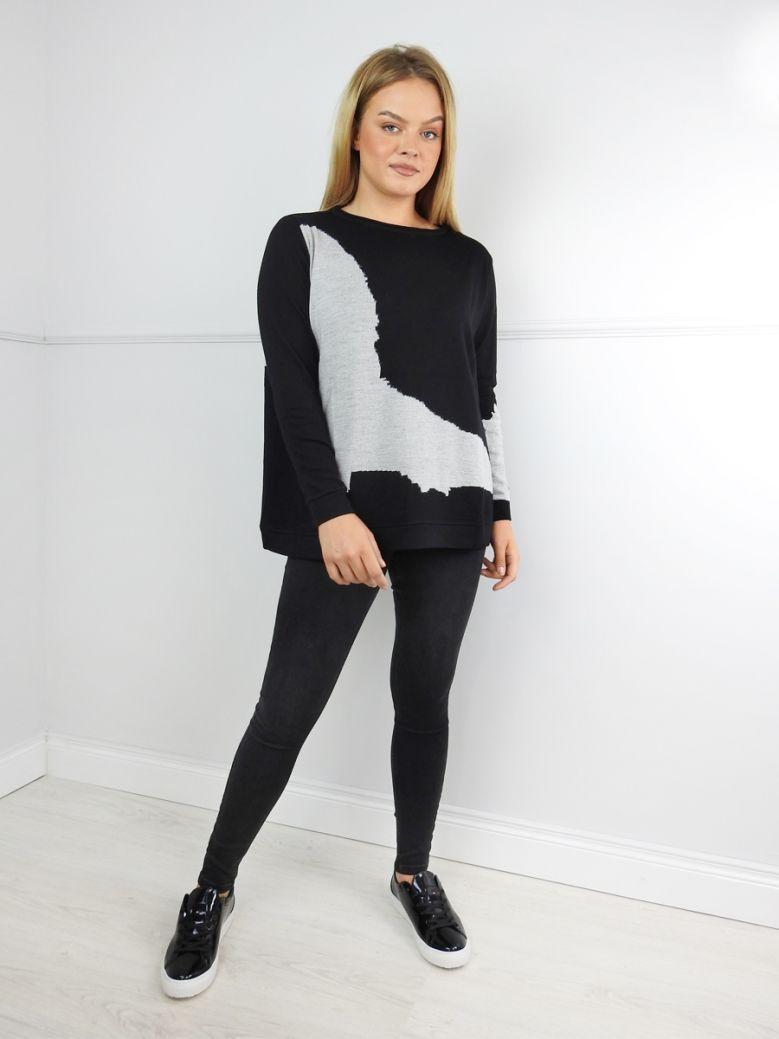 Knit Knit Black Grey Abstract Mix Jumper