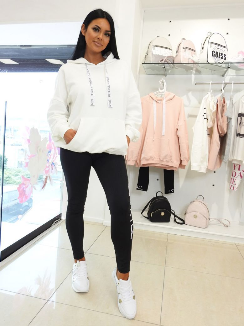 Kendall + Kylie White Oversized Logo Hoody