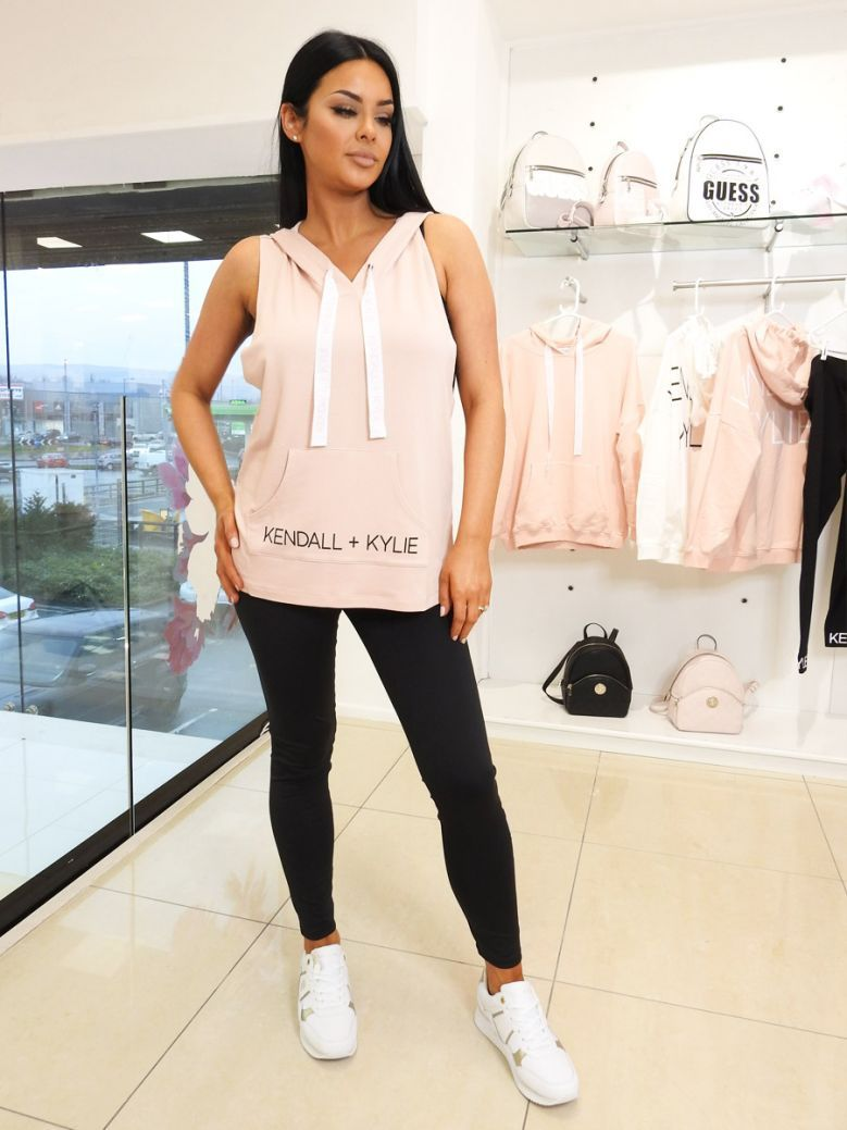 Kendall + Kylie Pink Blush Logo Sleeveless Hood