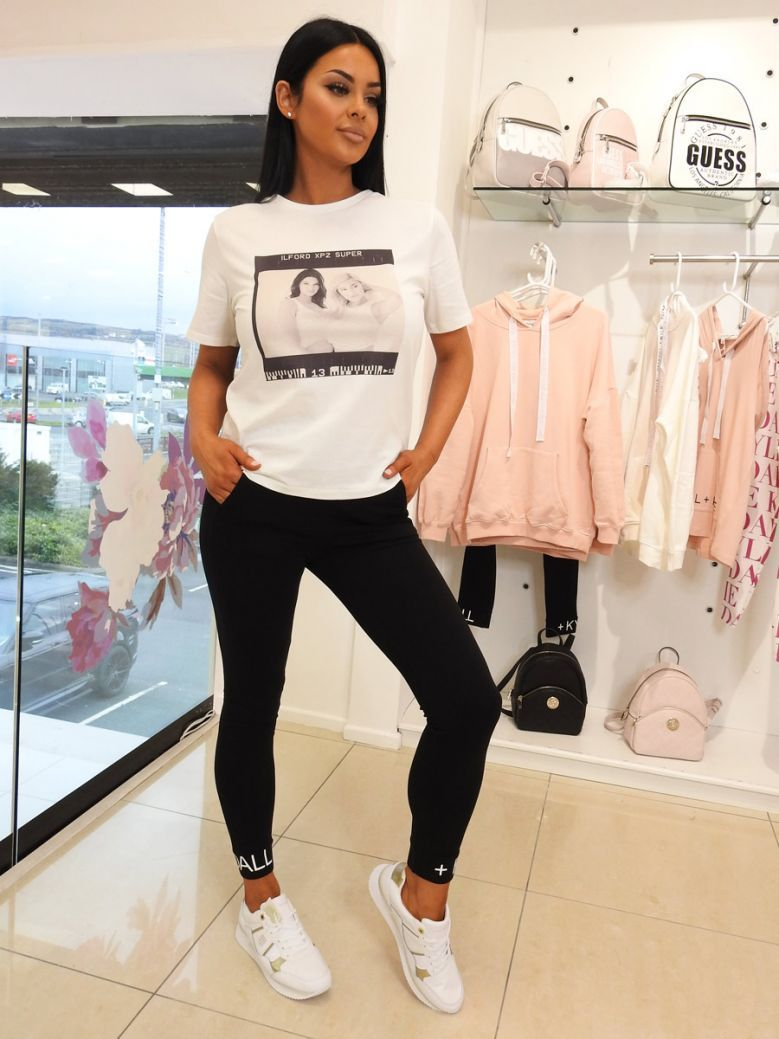 Kendall + Kylie White Photo Square T-Shirt
