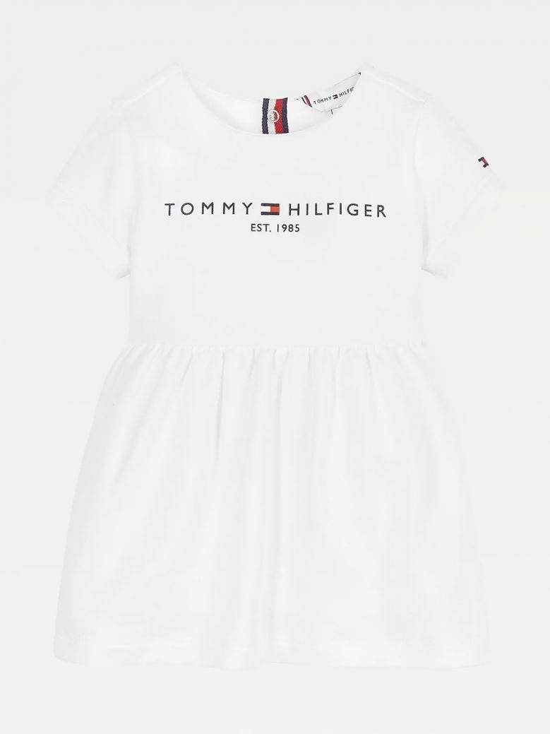 Tommy Hilfiger Kids White Essential Stretch Organic Cotton Dress