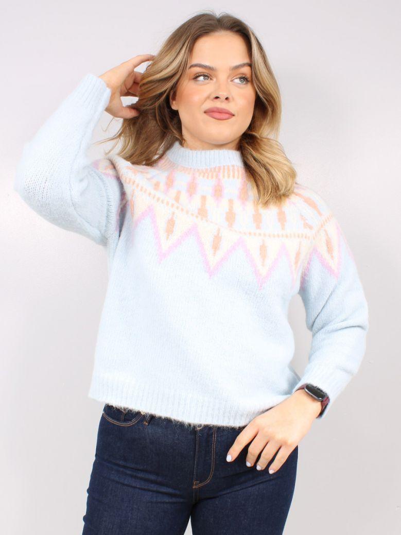 Cilento Women Blue Multi Knit Jumper
