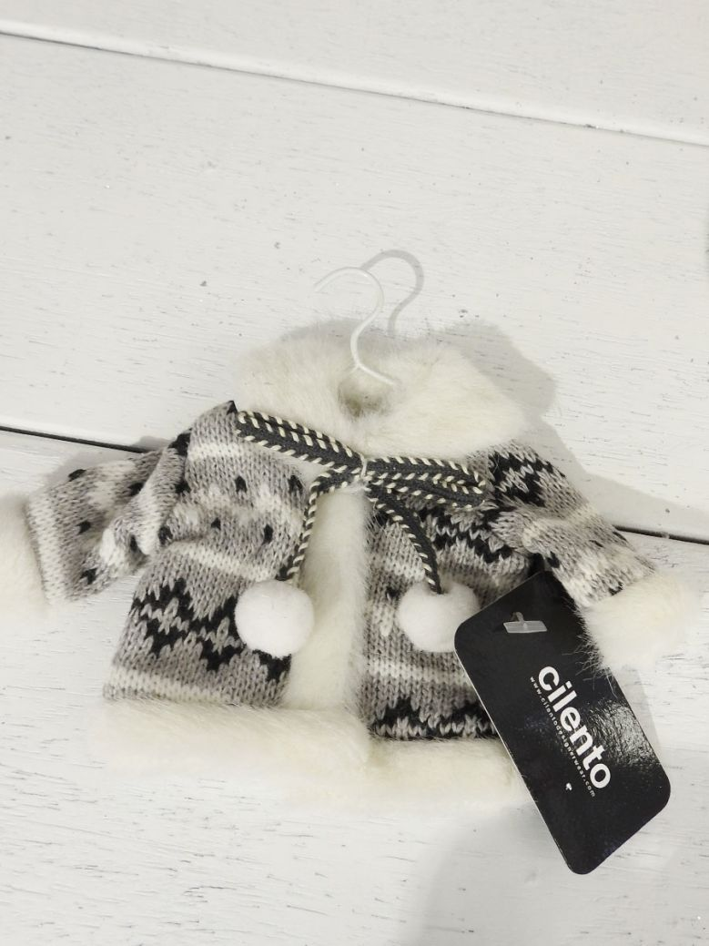 Christmas Knitted Grey Patterned Jacket Decoration