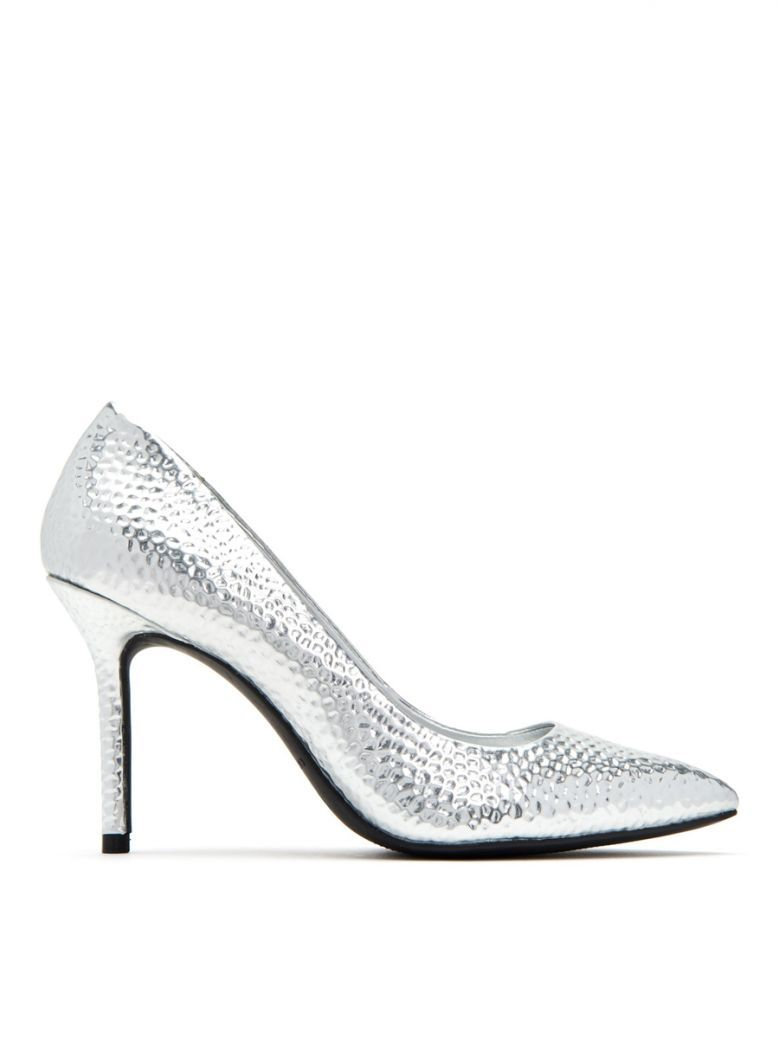 Katy Perry Silver 'The Sissy' Embossed Stilletto Shoe