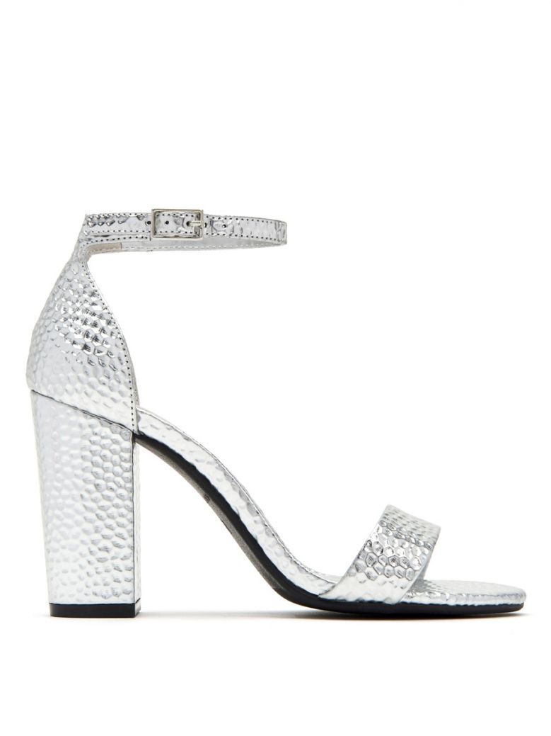 Katy Perry Silver 'The Goldy' Embossed Sandal
