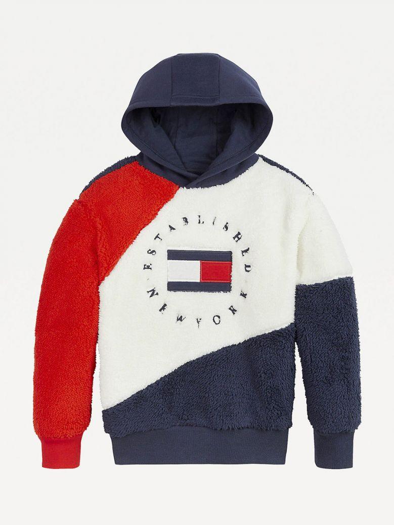 Tommy Hilfiger Kids Twilight Navy Colour-Blocked Logo Hoody