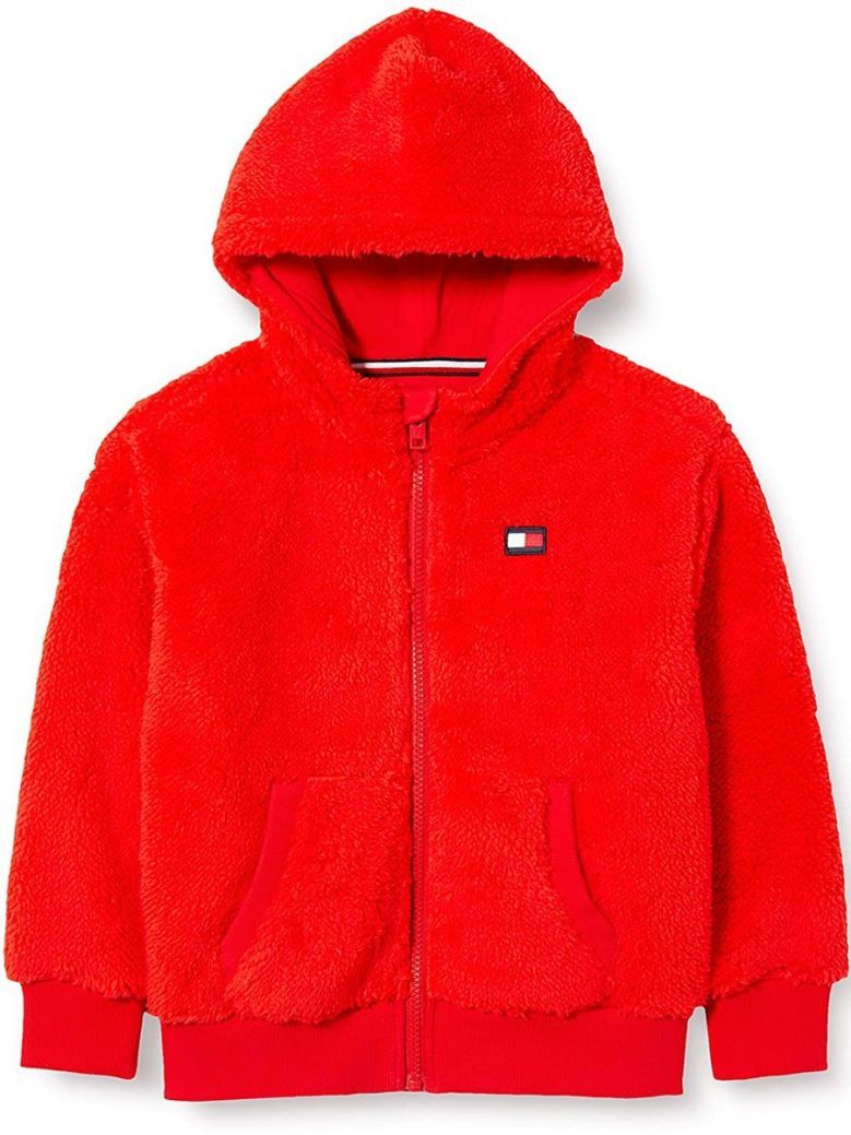 Tommy Hilfiger Kids Deep Crimson Fleece Logo Zip-Thru Hoody