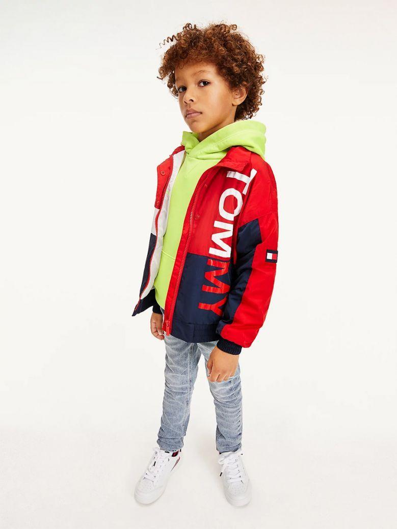 Tommy Hilfiger Kids Deep Crimson Colour-Blocked Logo Jacket