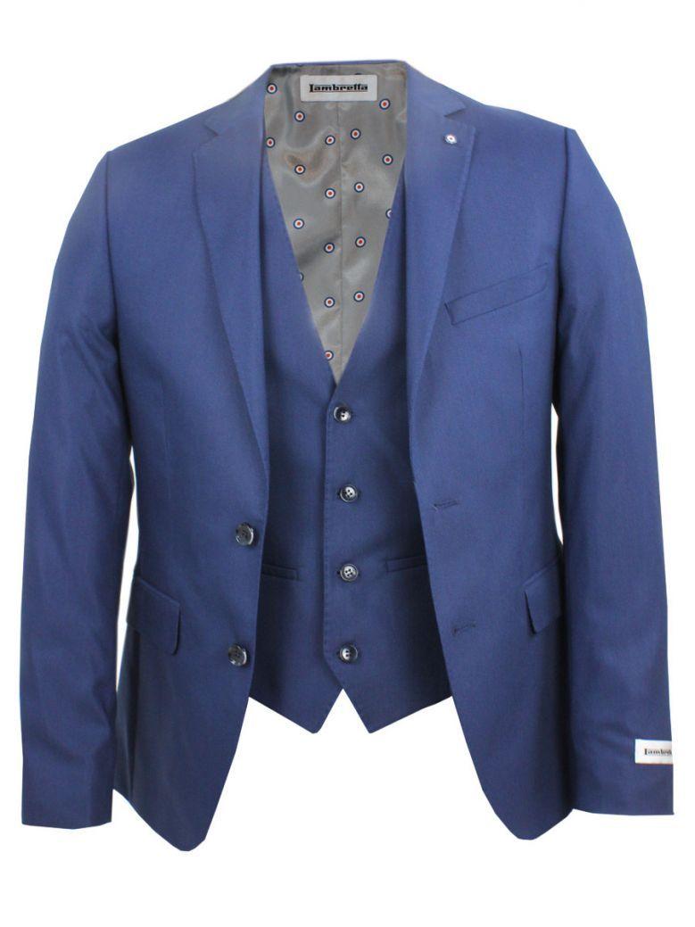 Lambretta 3 Piece Navy Slim Fit Suit