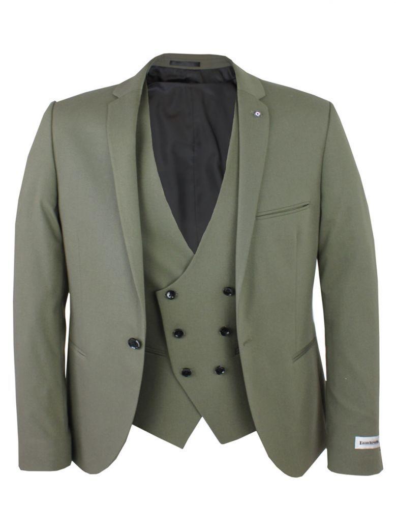 Lambretta Khaki Green 3 Piece Skinny Fit Suit