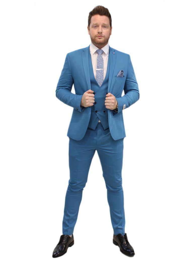 Lambretta Aqua Blue 3 Piece Skinny Fit Suit