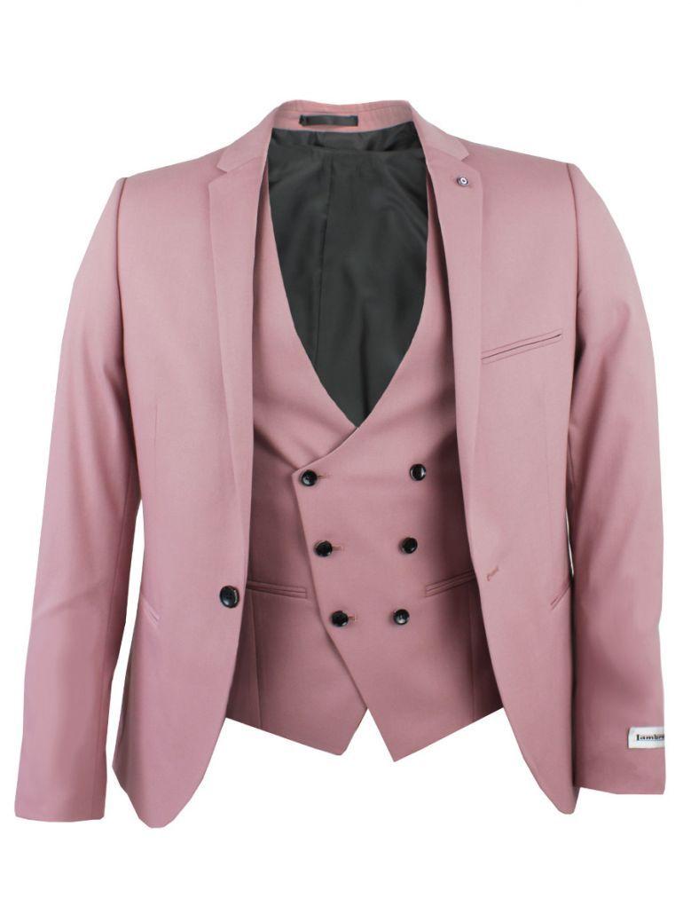 Lambretta Rose Pink 3 Piece Skinny Fit Suit