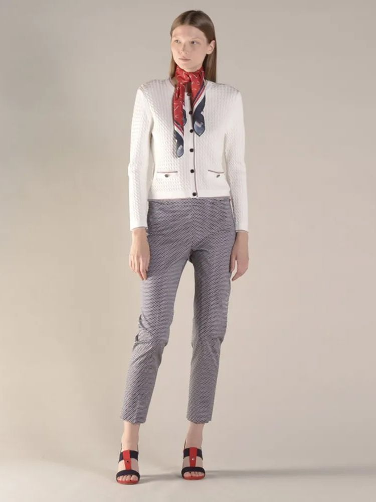Lion of Porches Navy Polka Dot Printed Trousers
