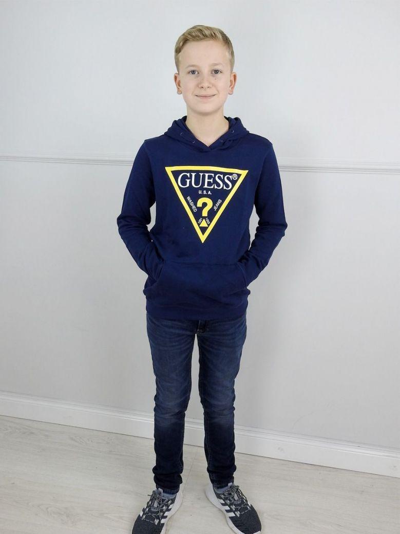 Guess Kids Navy Printed Logo Front Sweatshirt
