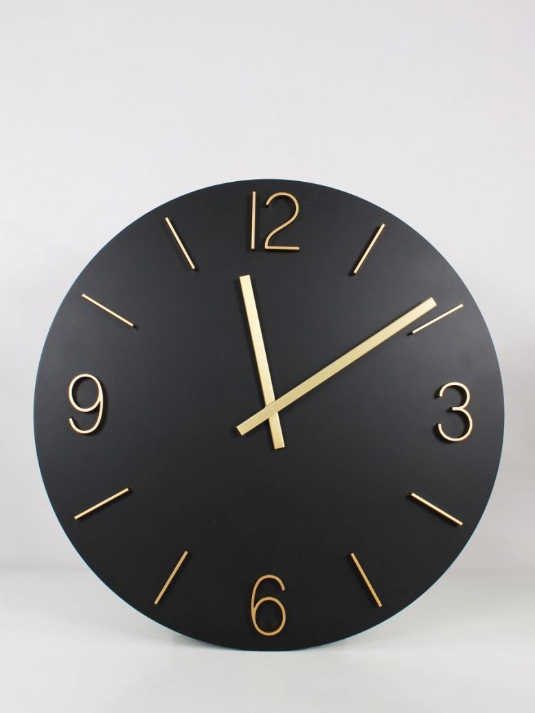 Large Round Wall Clock Black and Gold