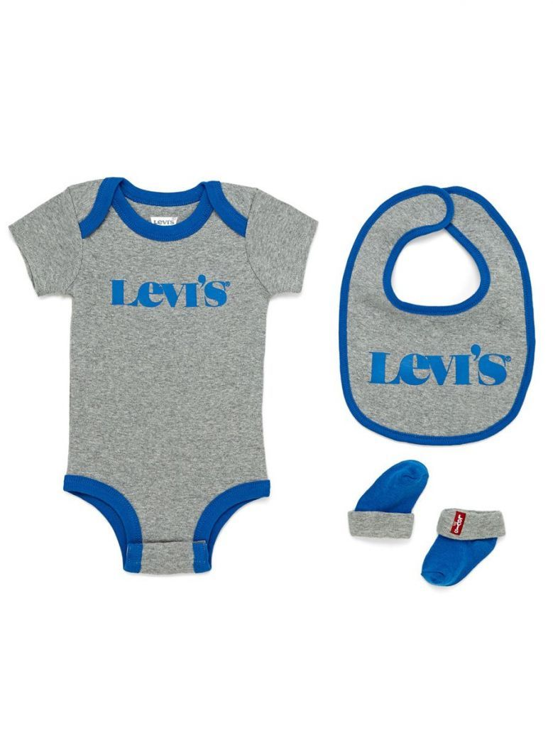 Levis Babygrow, Hat and Slipper Set Grey and Blue