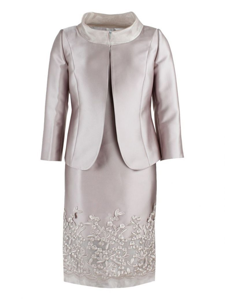 Lexus Embroidered Detail Dress and Jacket Set, Blush, Style 12353