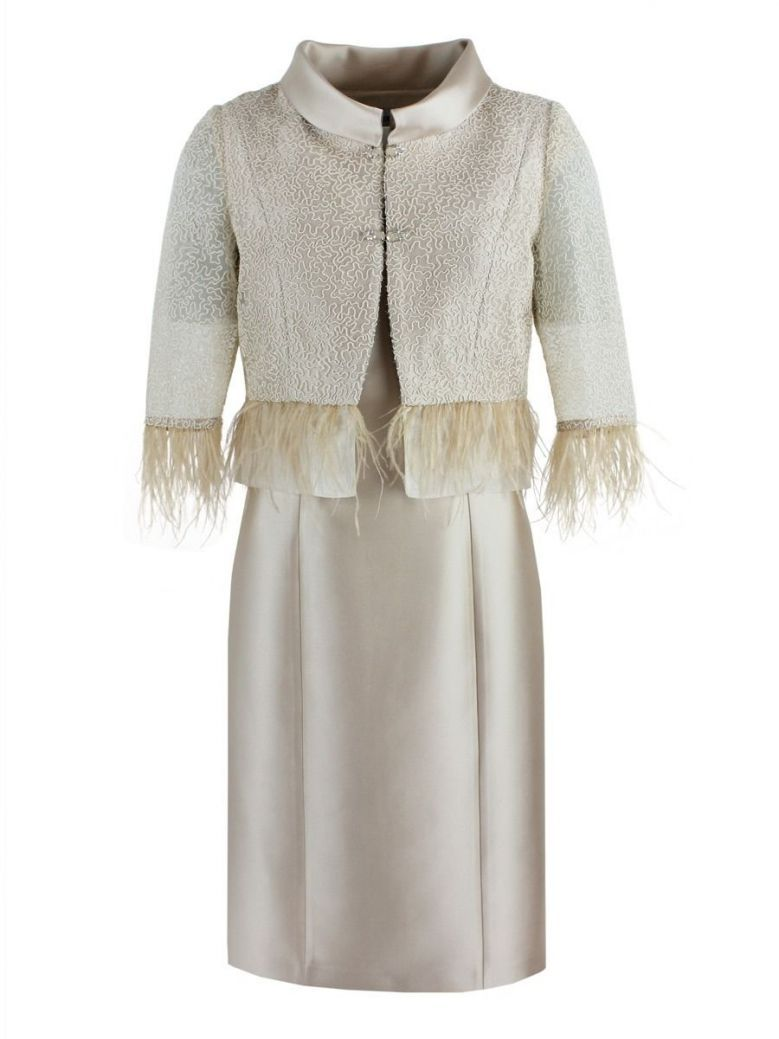 Lexus Dress and Feather Detail Jacket, Beige, Style 1249