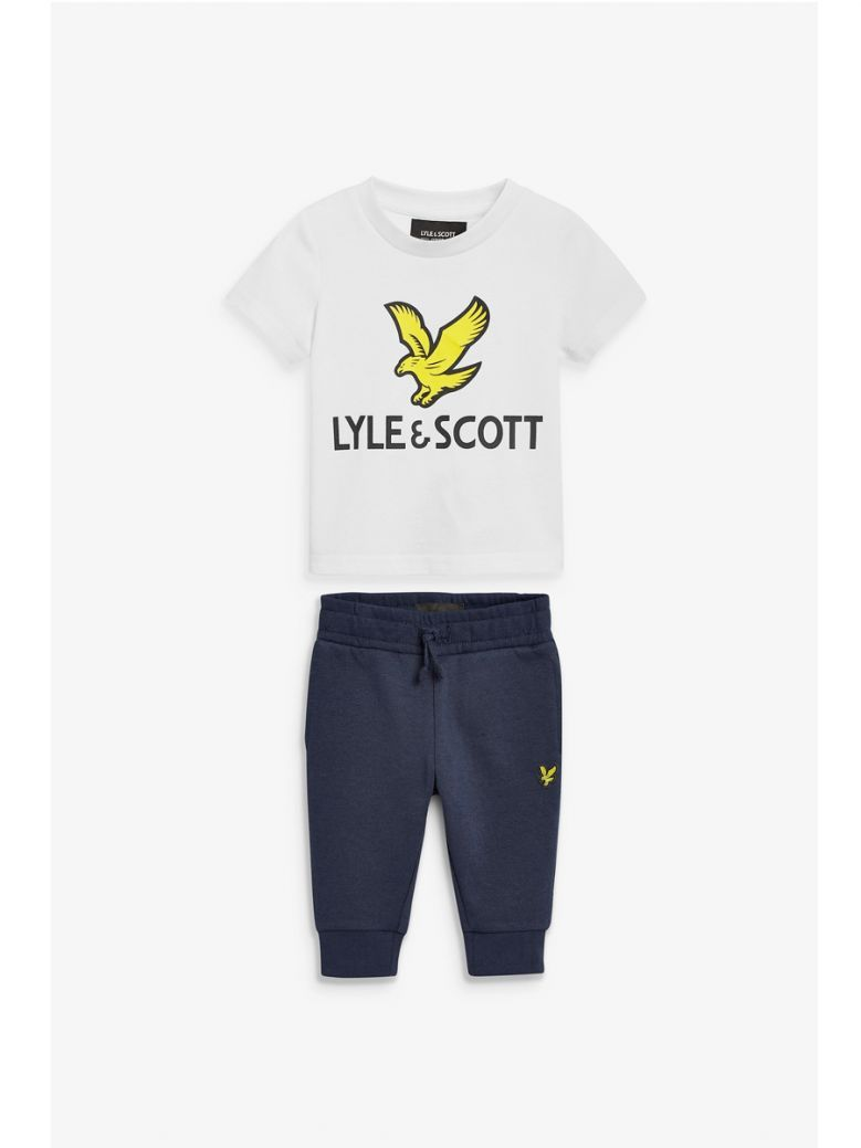 Lyle & Scott White and Navy Eagle Logo T-Shirt And Joggers Set