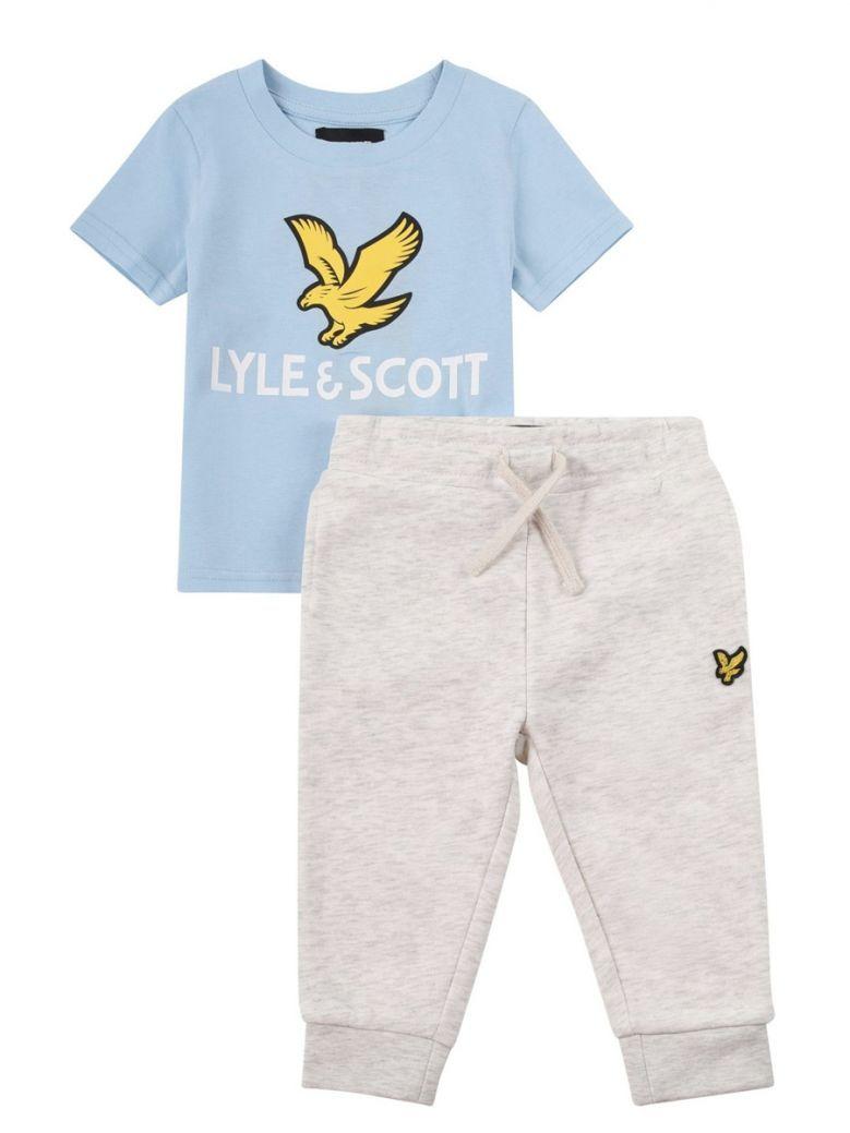Lyle & Scott Blue Eagle Logo T-Shirt And Joggers Set