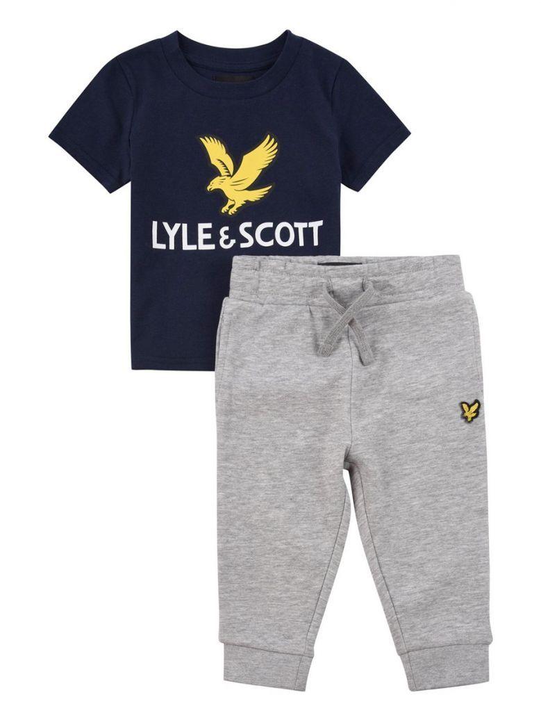 Lyle & Scott Kids Navy Eagle Logo Tee And Jogger Set