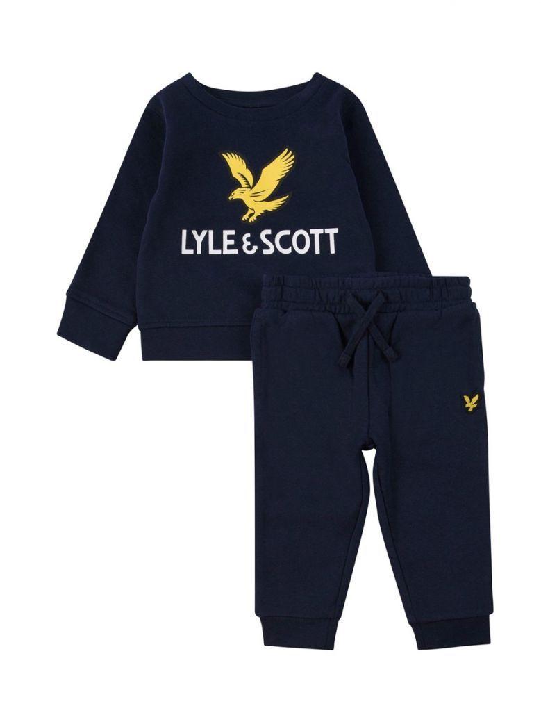 Lyle & Scott Blue Eagle Logo Crew And Joggers Set