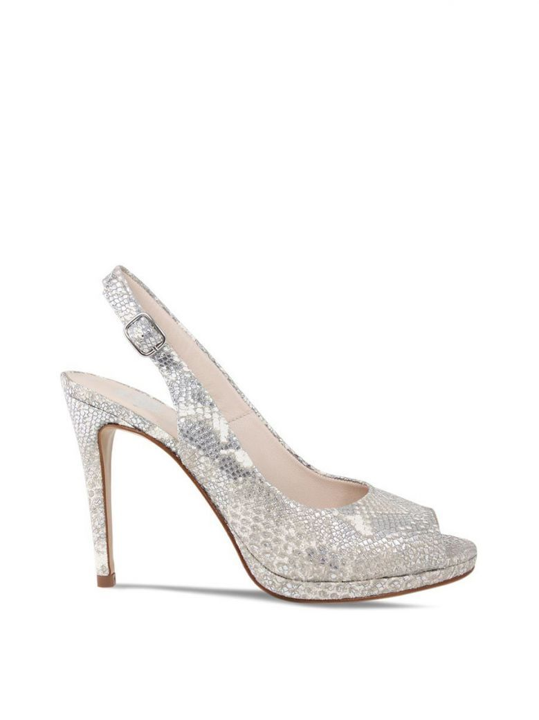 Lisa Kay Silver Metalic Python Luba Open Toe Sandal