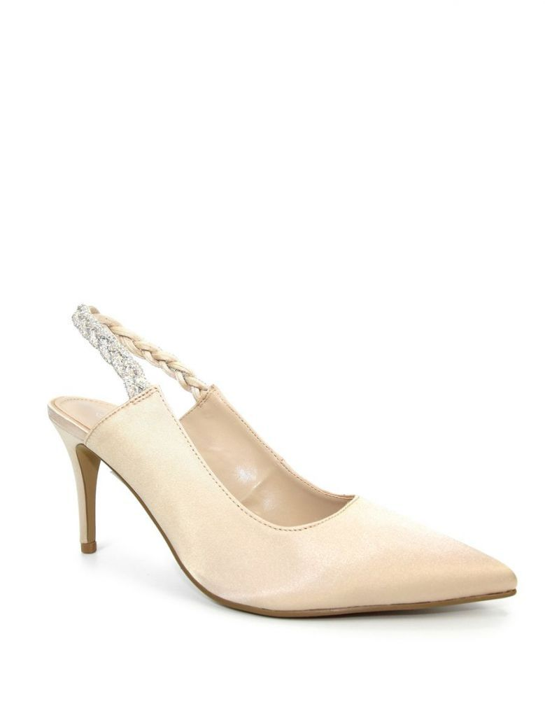 Lunar Confetti Satin Pointed Court Shoes Champagne