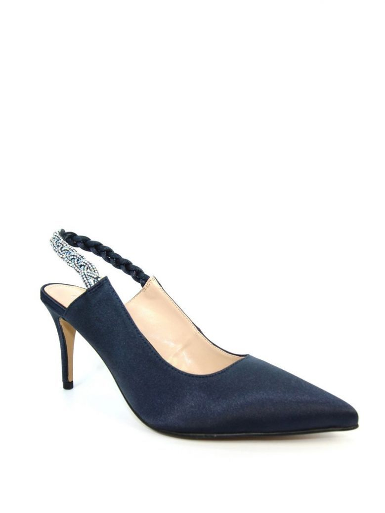 Lunar Confetti Satin Pointed Court Shoes Navy