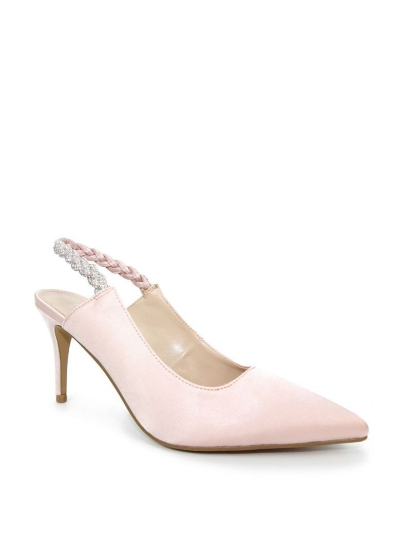 Lunar Confetti Satin Pointed Court Shoes Pink