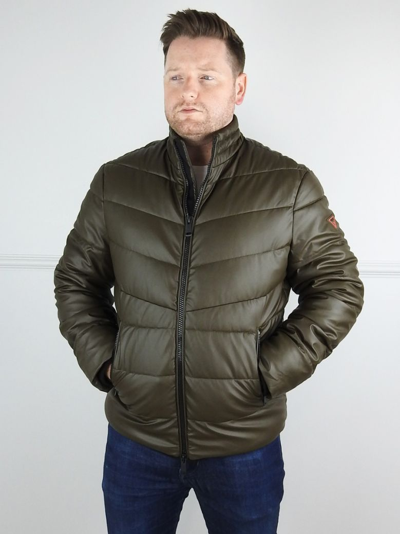 Guess Mens Green Faux Leather Puffer Coat