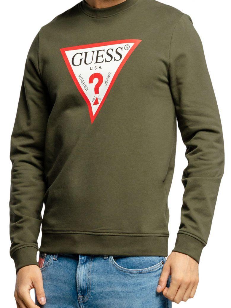 Guess Mens Green Triangle Logo Sweatshirt