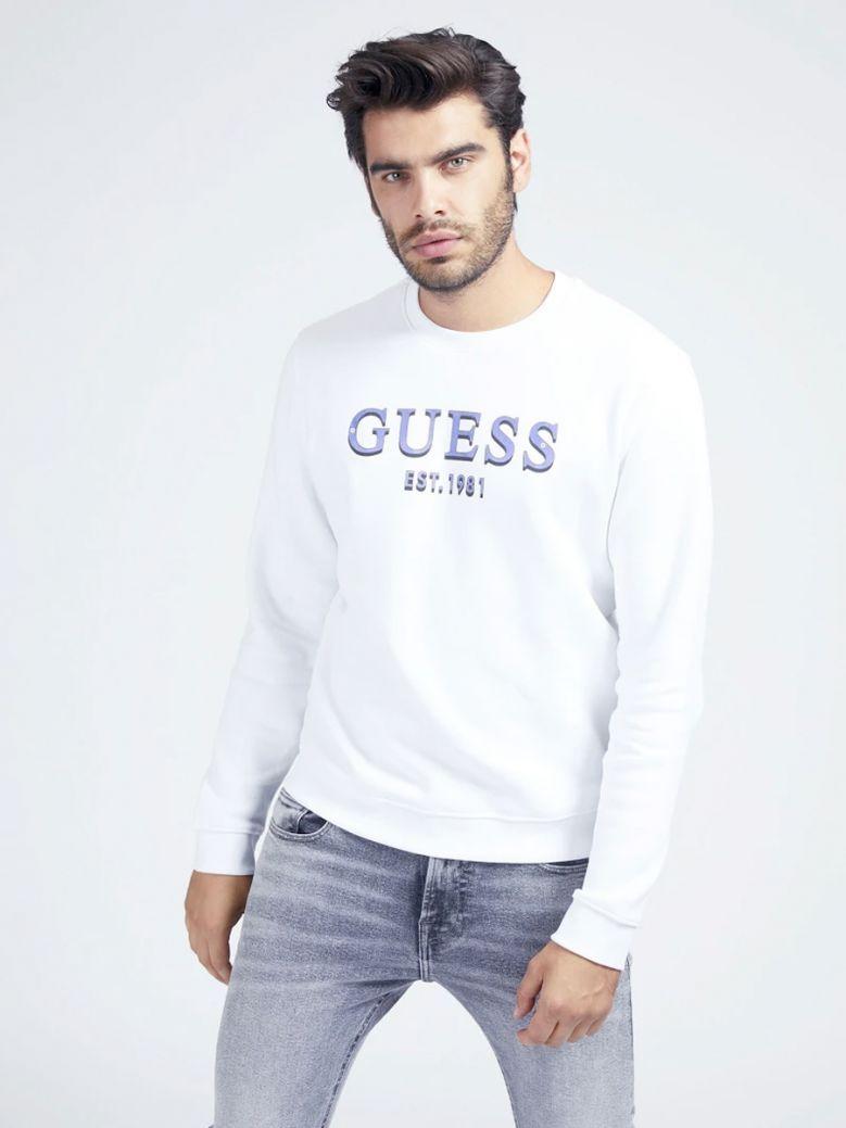 Guess Mens White Front Logo Sweatshirt