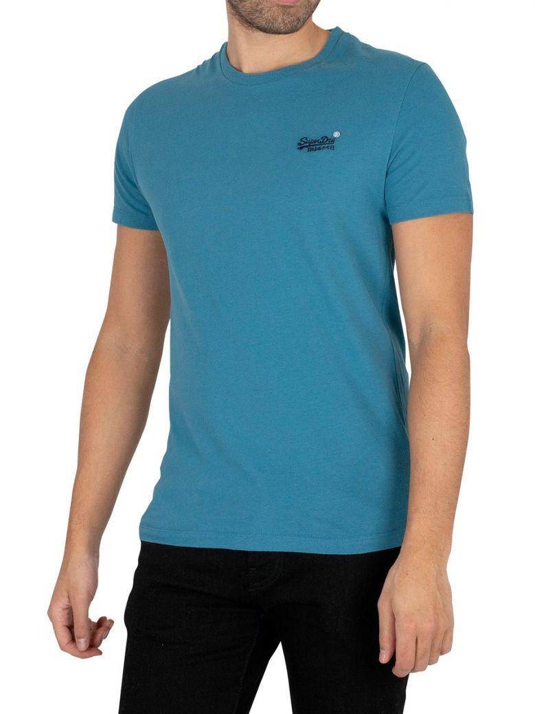 Superdry Glacier Blue Orange Label Embroidery T-Shirt
