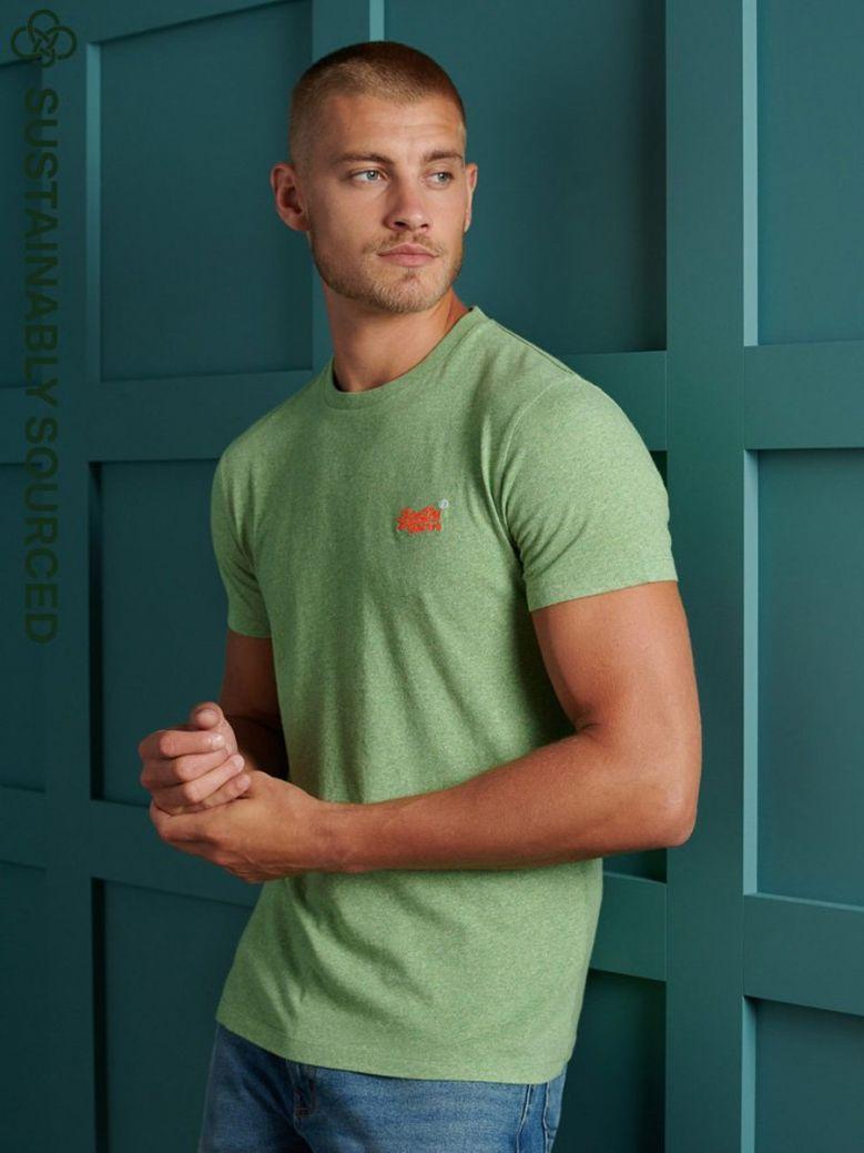 Superdry Shamrock Green Grit Orange Label Vintage Embroidery T-Shirt