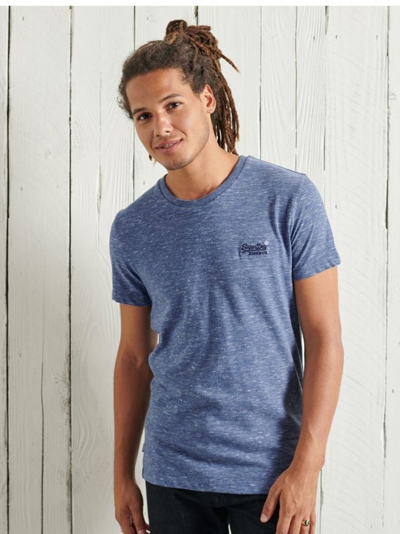 Superdry Tidal Blue Spacedye Organic Cotton Vintage Embroidery T-Shirt