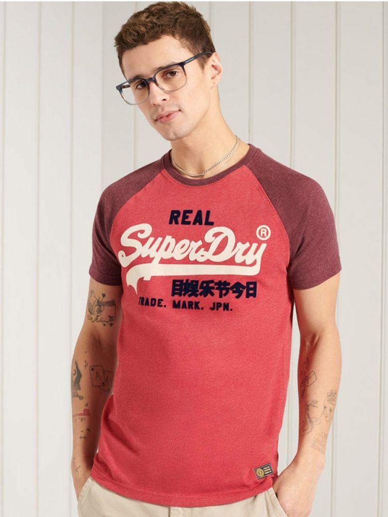 Superdry Coral Marl Vintage Logo Duo Raglan T-Shirt