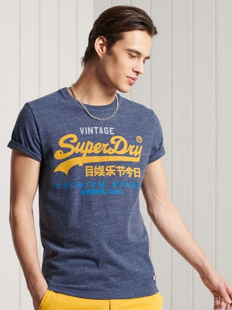 Superdry Navy Marll Vintage Logo Tri T-Shirt