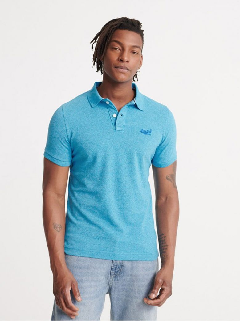 Superdry Electric Blue Grit Classic Pique Short Sleeve Polo Shirt