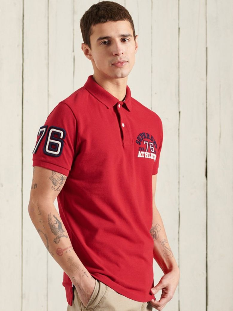 Superdry Rouge Red Classic Superstate Polo Shirt